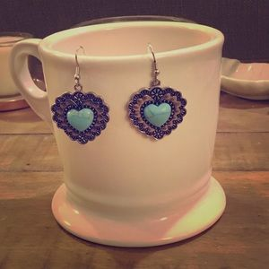 Adorable Silver Turquoise Heart Earrings